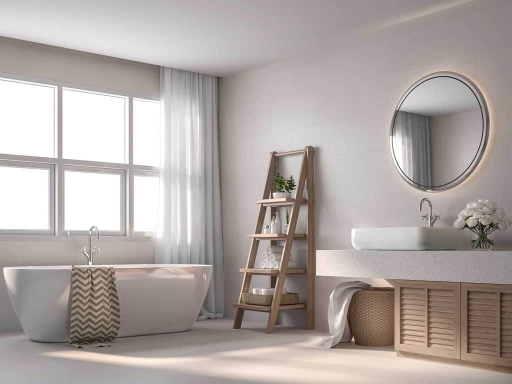 Modern contemporary style bathroom with beige tile walls, black and white pattern floor, wooden shelves and cabinet