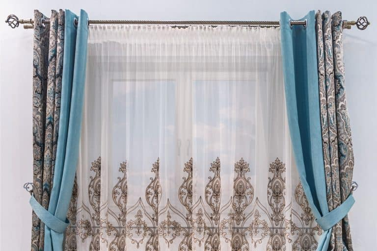 modern design of a small window, combined curtain with eyelets monochromatic turquoise fabric, How To Hang Eyelet Curtains