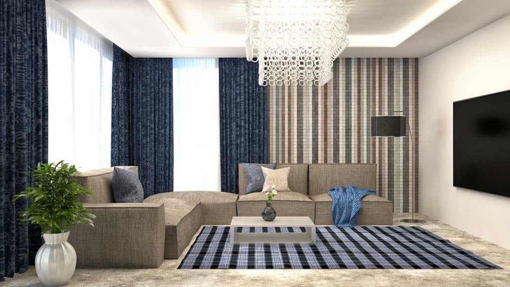Modern interior living room with corner sofa and curtains on large glass windows