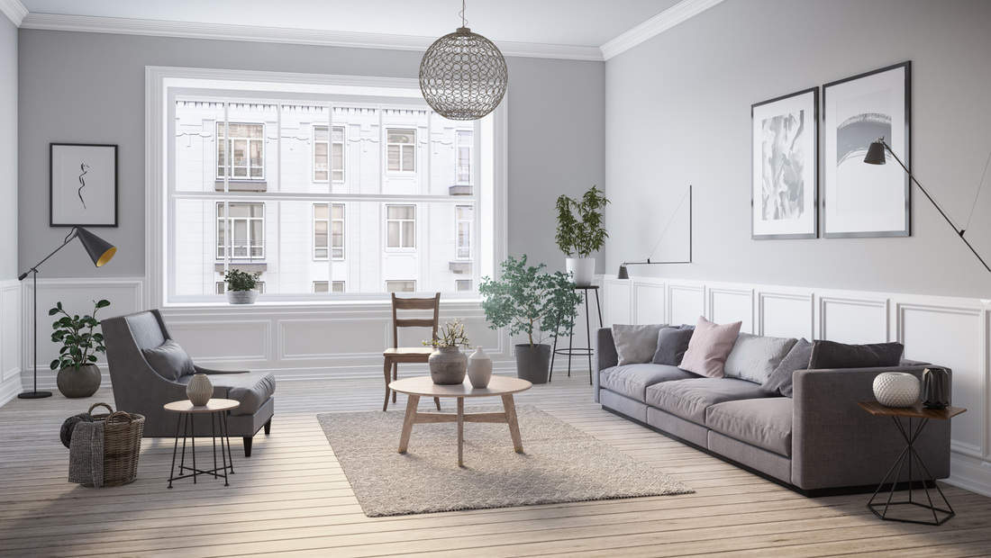 Modern scandinavian gray living room interior with mismatched end tables