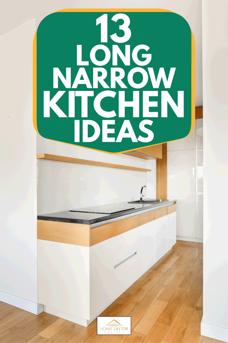 Narrow kitchen with white walls, cupboards and wooden floor, 13 Long Narrow Kitchen Ideas