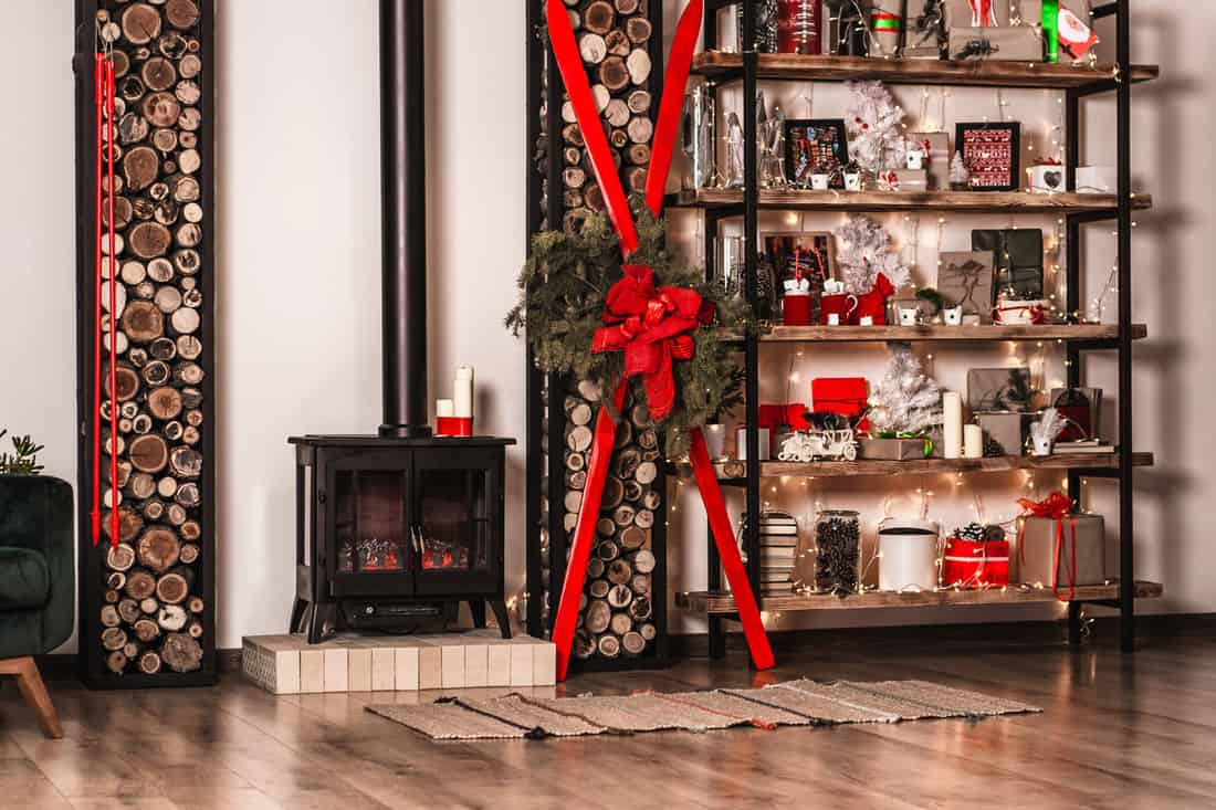 New Year decorated room with Christmas decoration