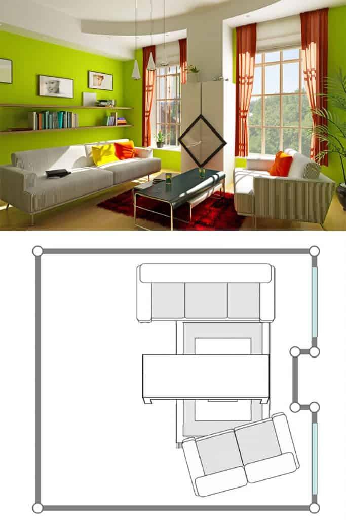 A modern green themed living room