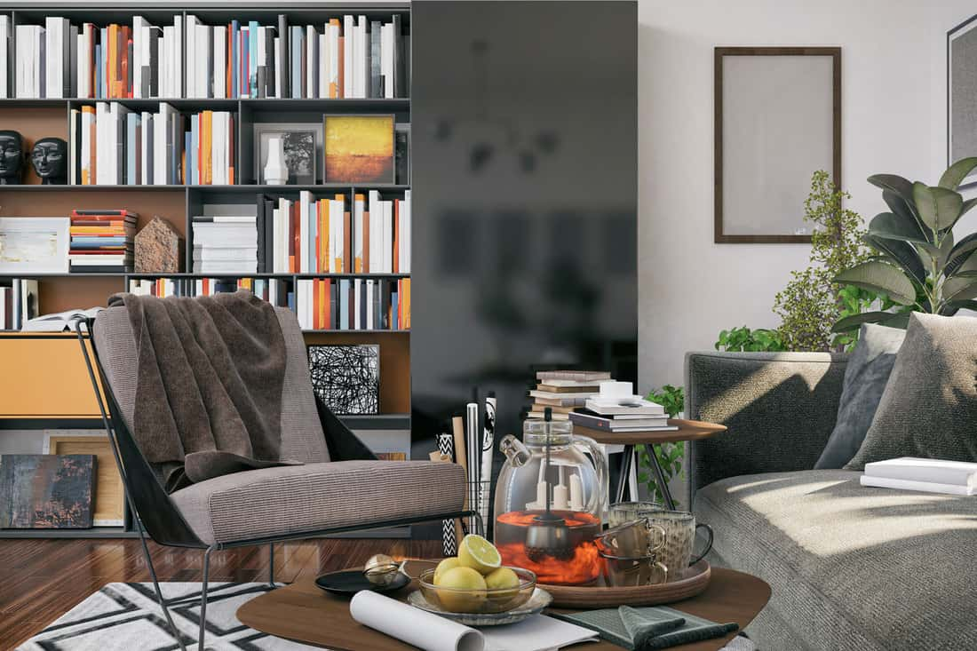Picture of Cozy Lounge Chair in Domestic Living room with bookcase at the back, How To Paint A Laminate Bookcase [5 Steps]
