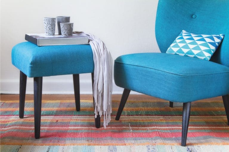 Retro teal armchair and ottoman decor items home interior horizontal, Do Ottomans Have To Match Chair?