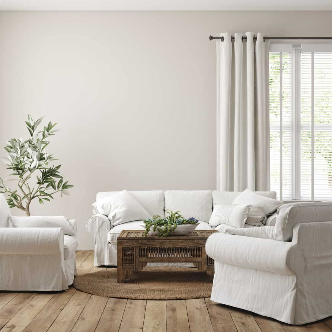 Scandinavian farmhouse living room interior, two armchairs and a sofa