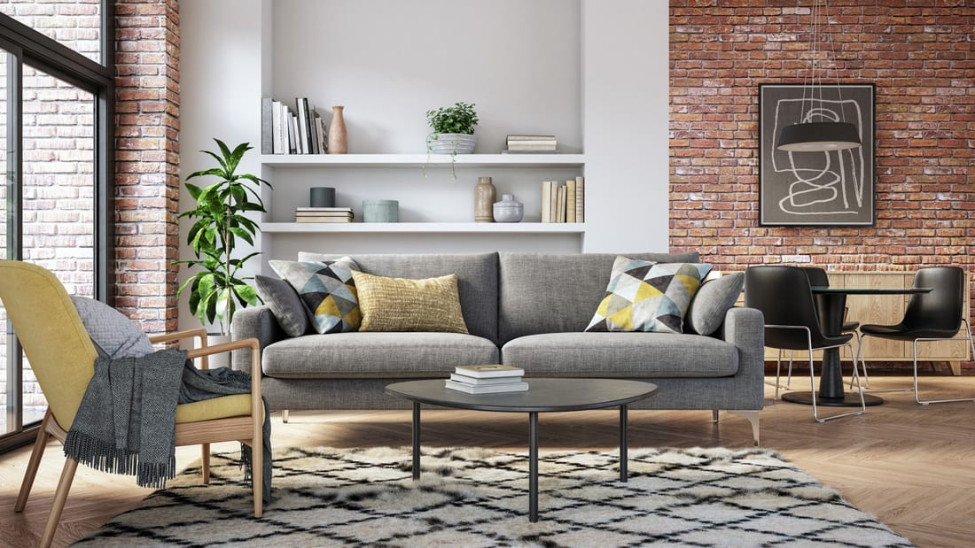 Scandinavian interior design living room 3d render with gray and yellow colored furniture and wooden elements