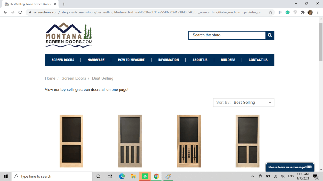 Screenshot of Montana Screen Doors.com doors category