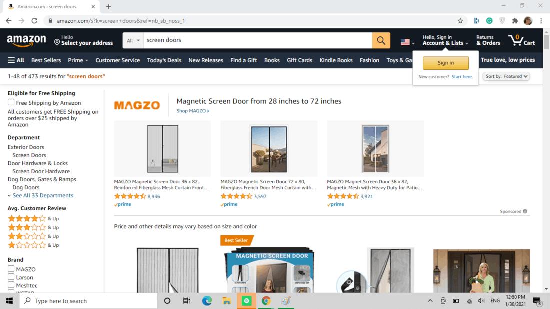 Screenshot of Amazon screen door category