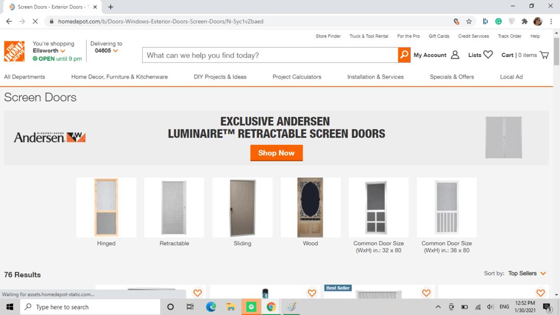 Screenshot of Home Depot screen door category