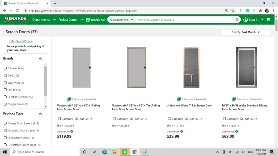 Screenshot of Menards screen door category