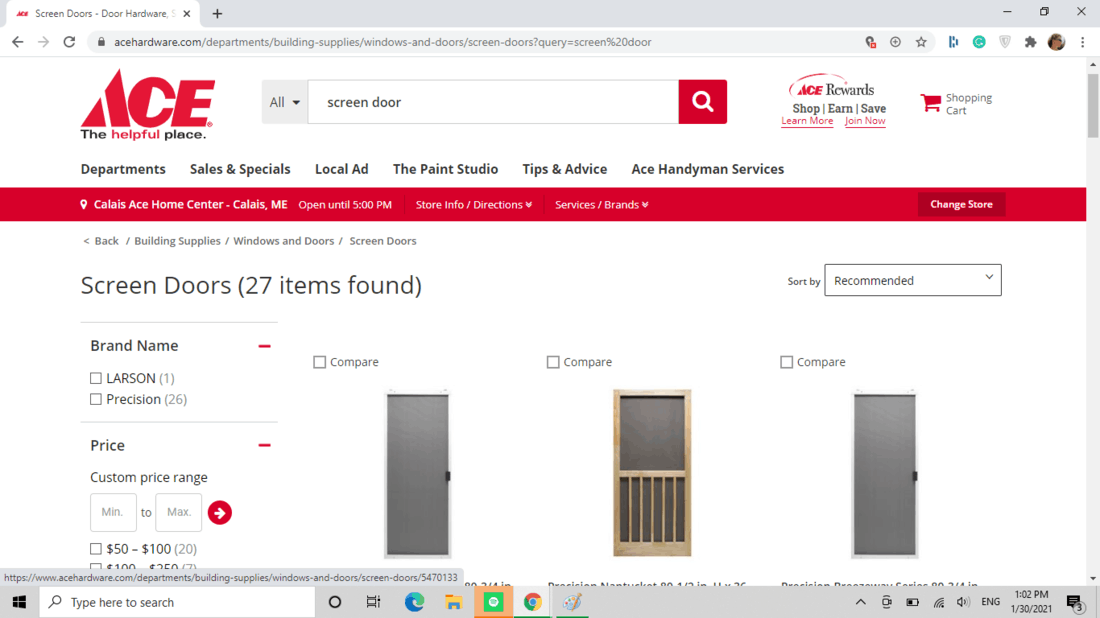 Screenshot of Ace Hardware screen door category