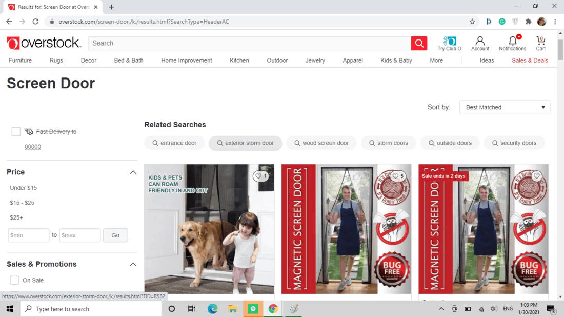 Screenshot of Overstock.com screen door category
