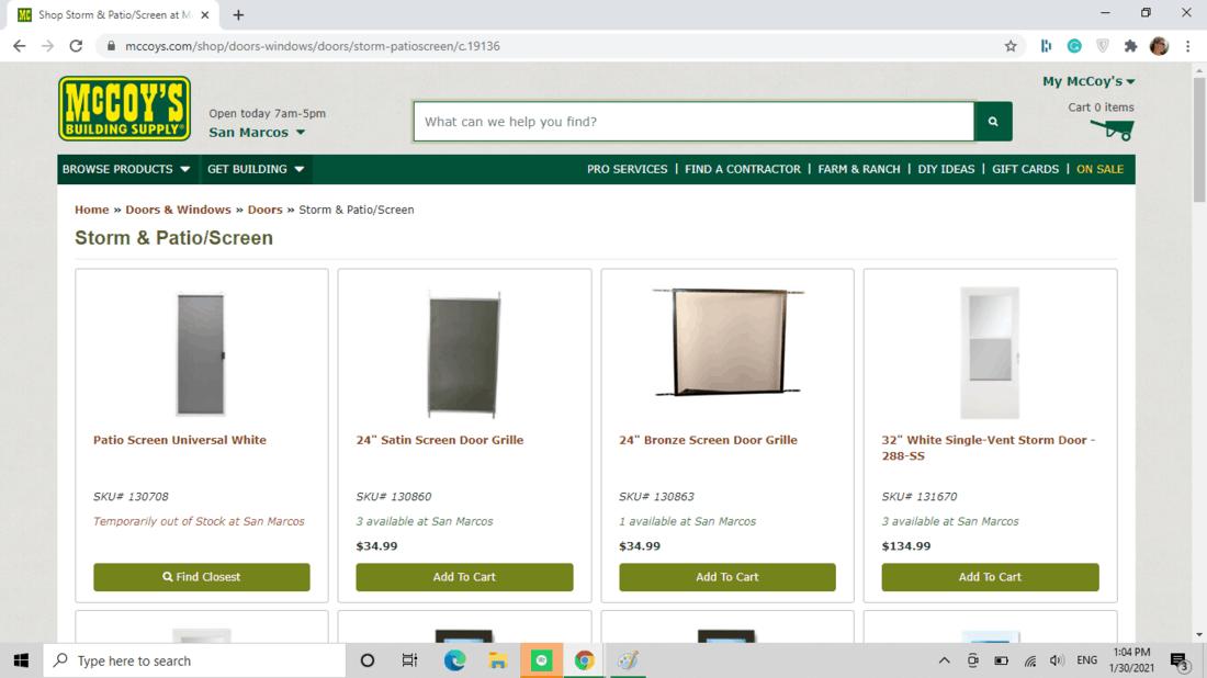 Screenshot of McCoy Building Supply screen door category