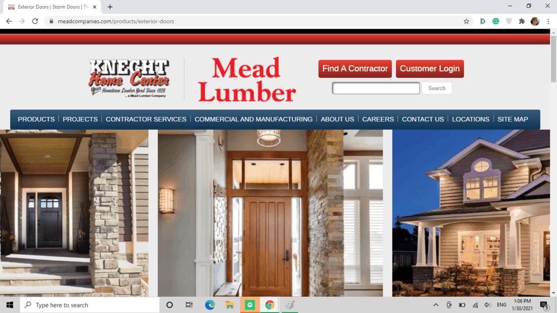 Screenshot of Mead Lumber exterior door category
