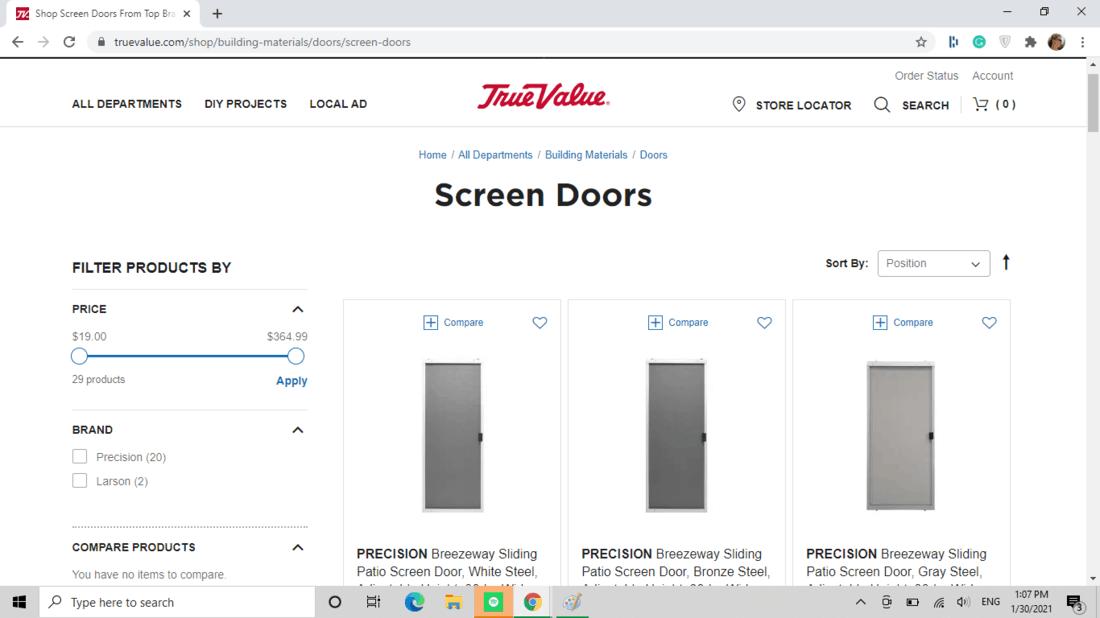 Screenshot of True Value screen door category