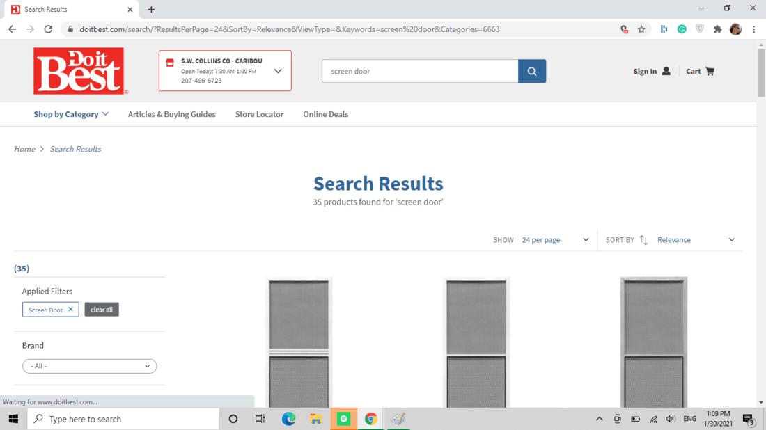 Screenshot of Do It Best screen door category