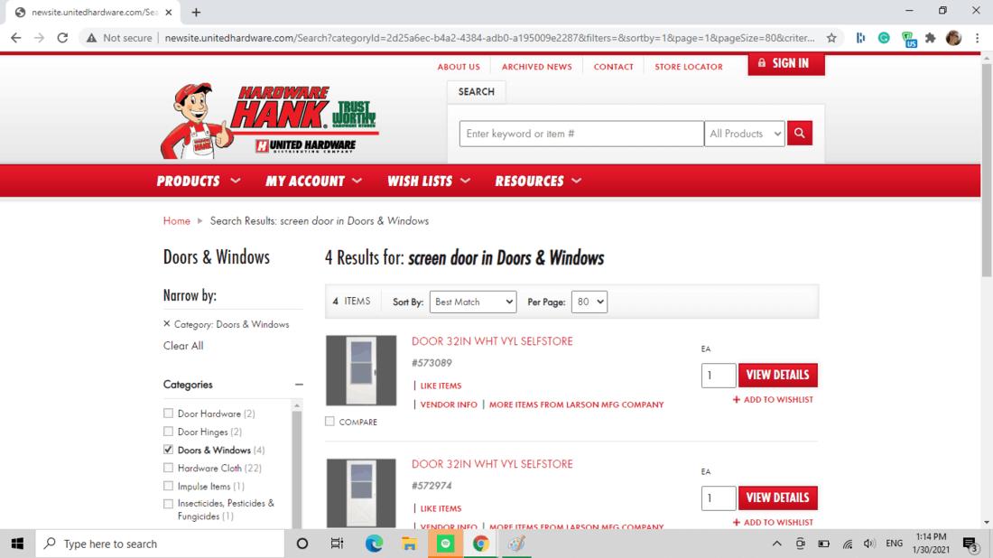 Screenshot of United Hardware (Hardware Hank) screen door category