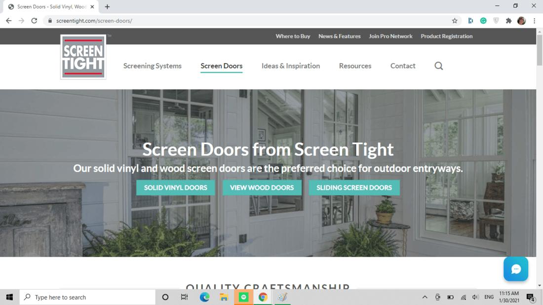 Screenshot of Screen Tight screen door category