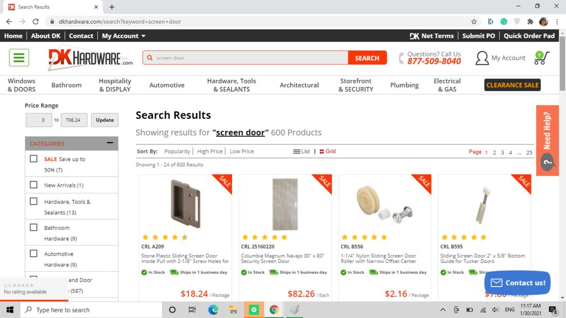 Screenshot of DK Hardware screen door category