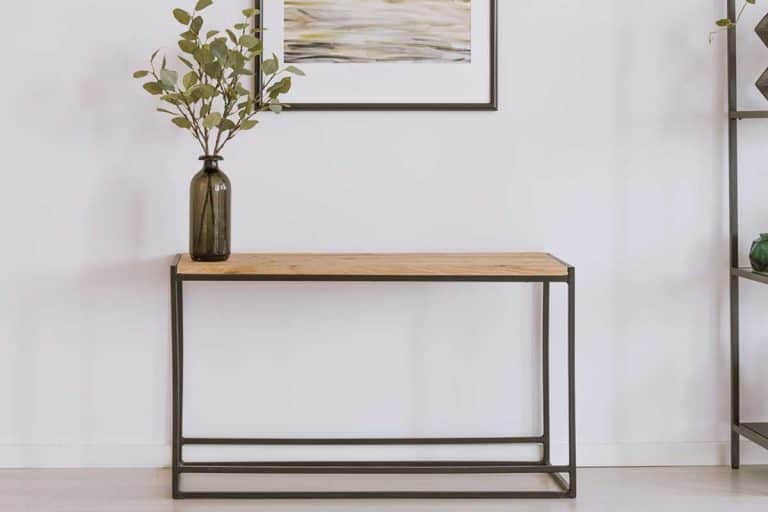 Simple painting above wooden console table with twigs in a glass vase in modern living room interior, Can A Console Table Be Used As A Desk?