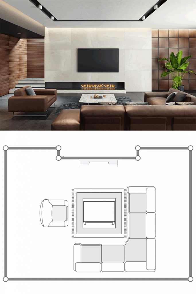Small minimalist themed living room with brown sectional sofas, indoor plant, a fireplace with a wall mounted TV on top
