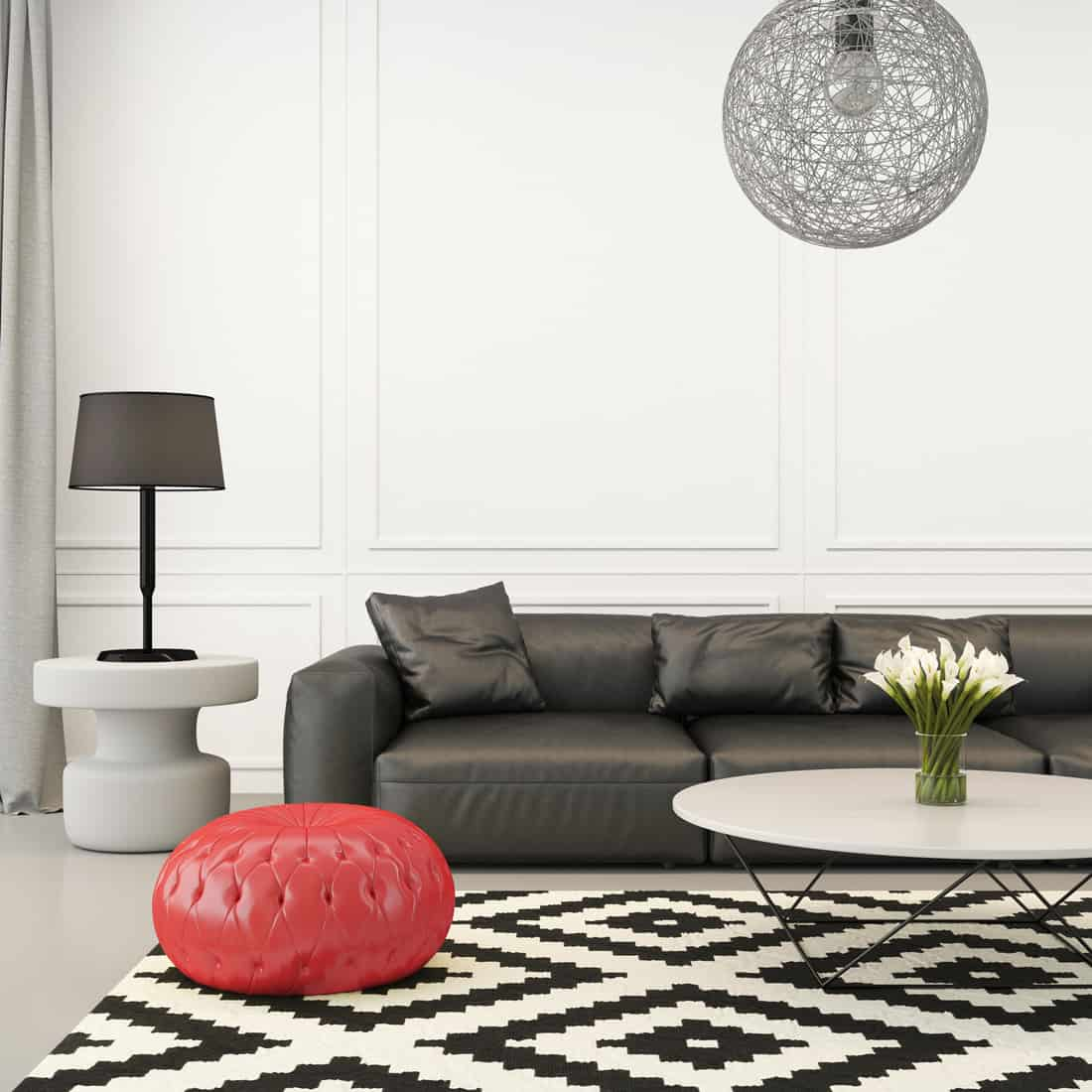 Square composition showing eclectic black and white living room with a red cushion stool, with ornate elements around