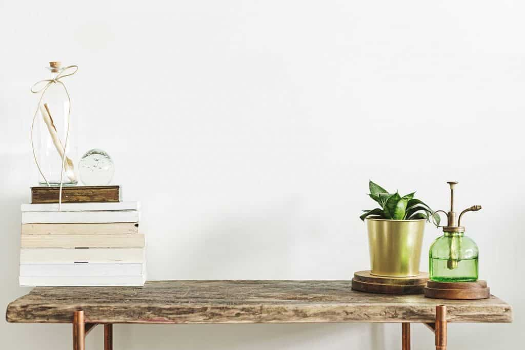 Stylish and modern decor with wooden console, books, plants and accessories