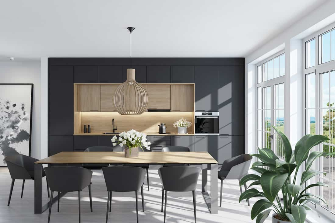 Trendy Scandinavian open concept kitchen and dining room with lots of natural light, the dining chair doesn't really match with the dining table