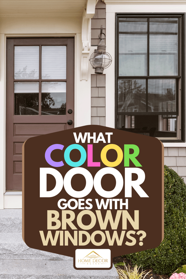 A front view of a traditional house with two windows between doors, What Color Door Goes With Brown Windows?