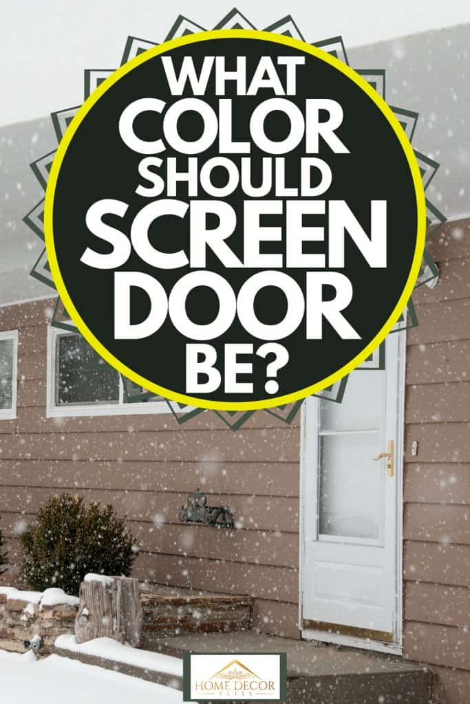 A contemporary exterior of a house with wooden paneled sidings and white colored screen door, What Color Should Screen Door Be?