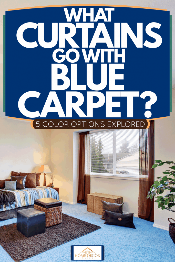 A spacious bedroom with beige painted walls, blue carpet flooring, and a narrow window with brown curtains, What Curtains Go With Blue Carpet? [5 Color Options Explored]
