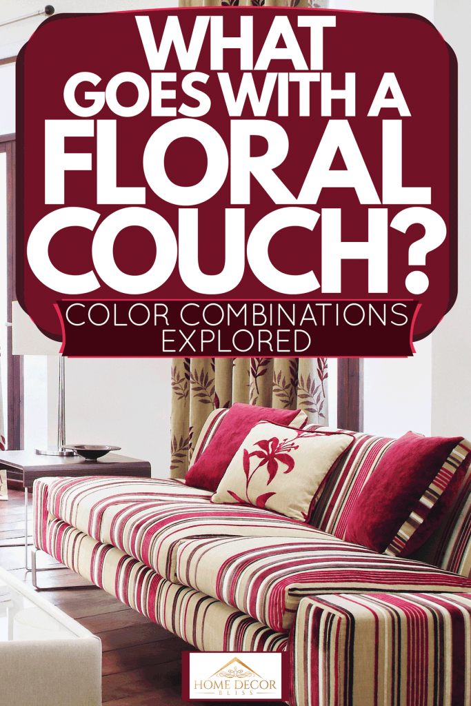 Interior of a floral themed living room with a tall floral curtains, white sofas, and a floral sleeper sofa, What Goes With A Floral Couch? [Color Combinations Explored]