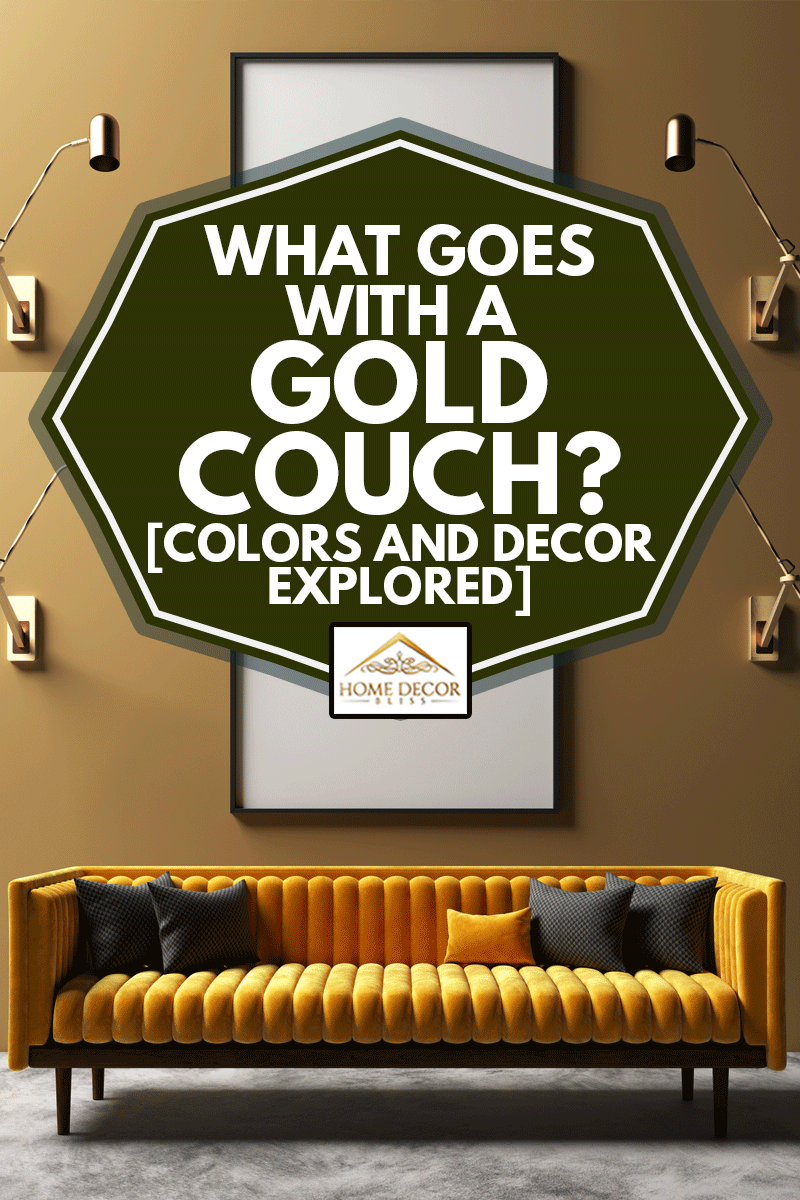 Mock-up in elegant interior background, modern style with gold couch, What Goes With A Gold Couch? [Colors And Decor Explored]