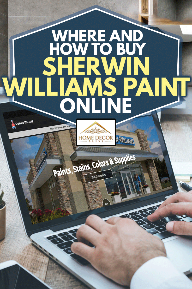 A man browsing sherwin williams paint online using his laptop, Where And How To Buy Sherwin Williams Paint Online