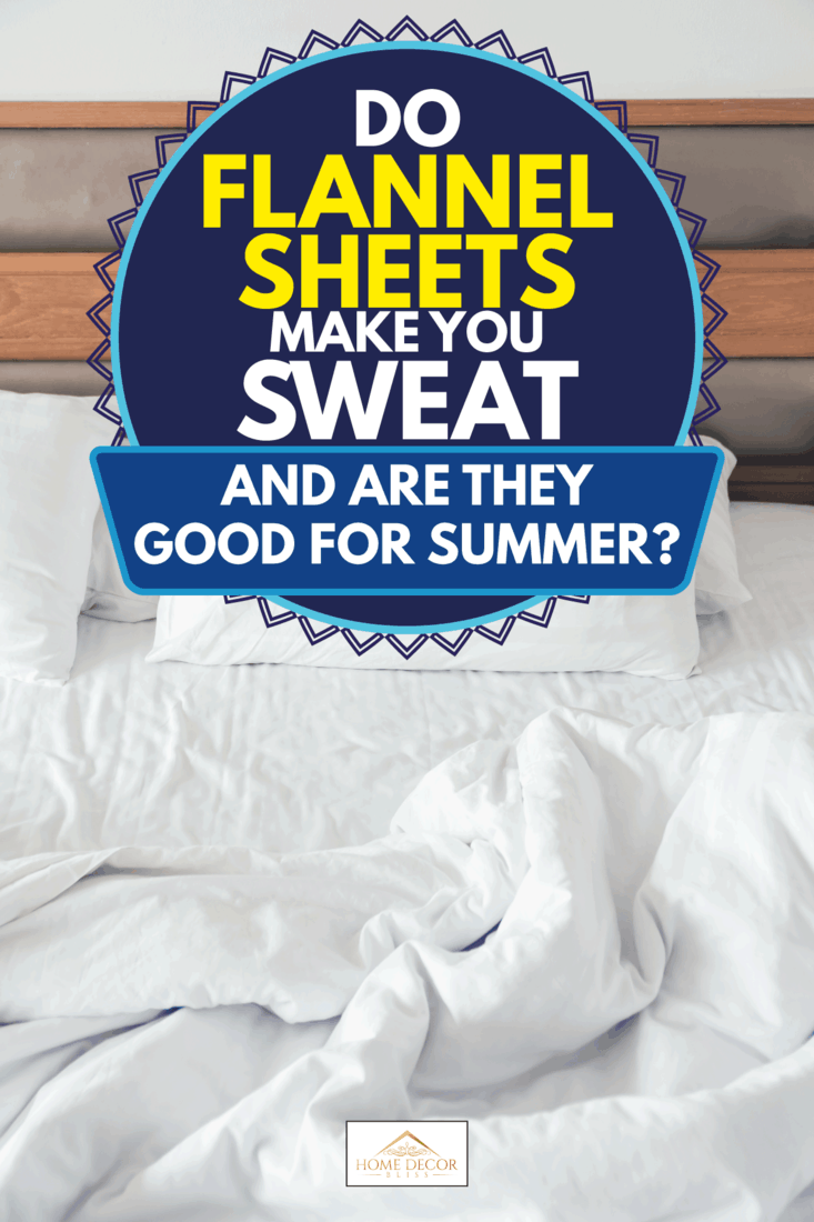 White pillow with rumpled bed decoration in bedroom, Do Flannel Sheets Make You Sweat [And Are They Good For Summer?]