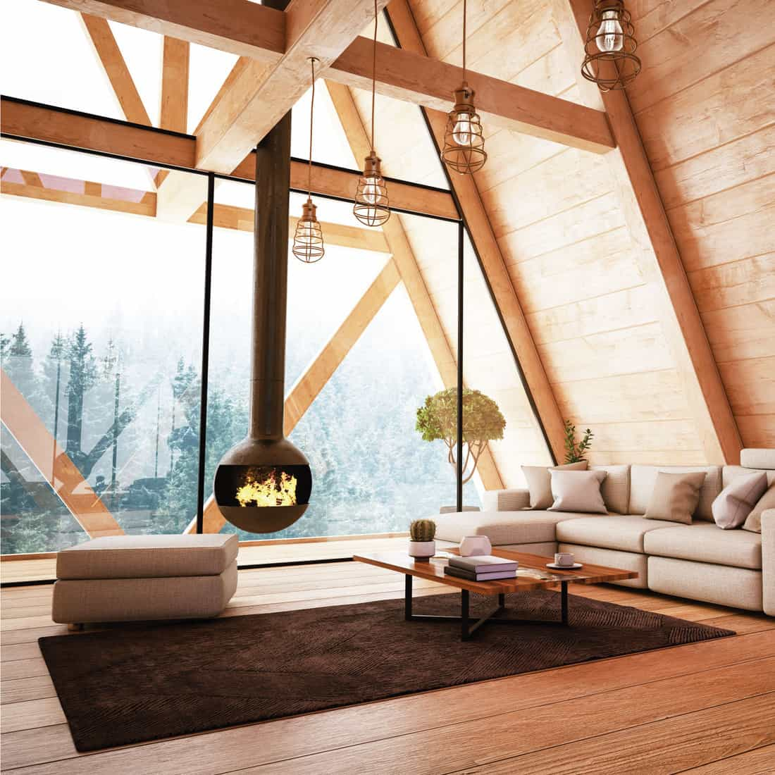 Wooden Interior with Furniture and Fireplace with deep brown carpet