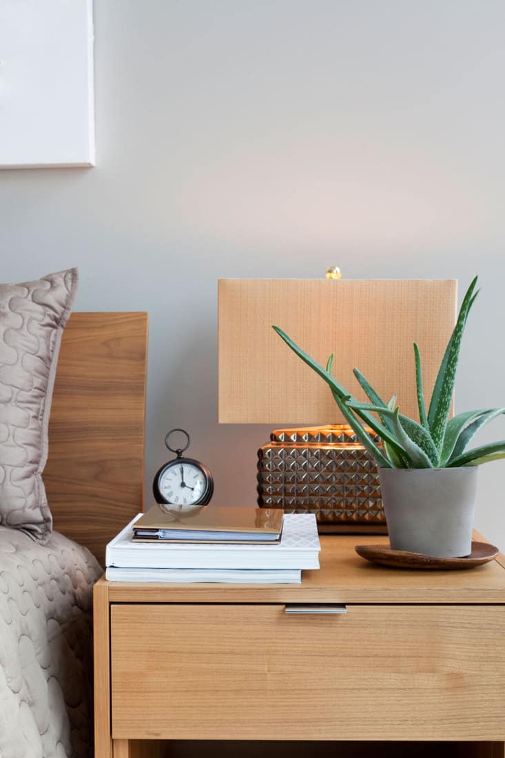 Wooden bedside table with a lamp, plant, clock, and papers