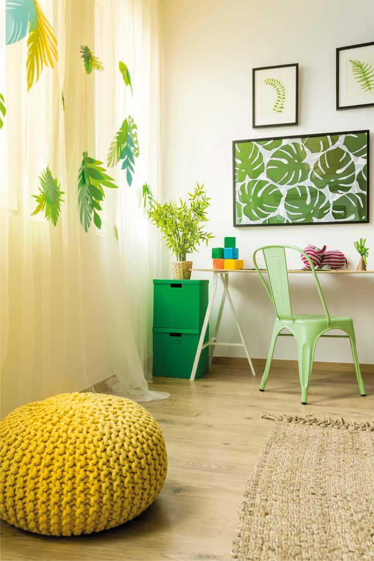 Yellow pouf in modern creative room, tropical style room