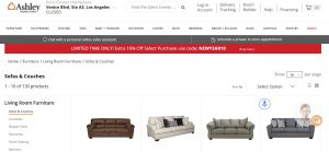 Ashley Furniture website couch product page