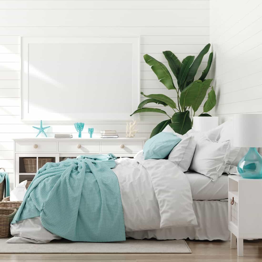 Bedroom interior, marine room with sea decor and furniture