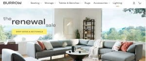 Burrow website couch product page