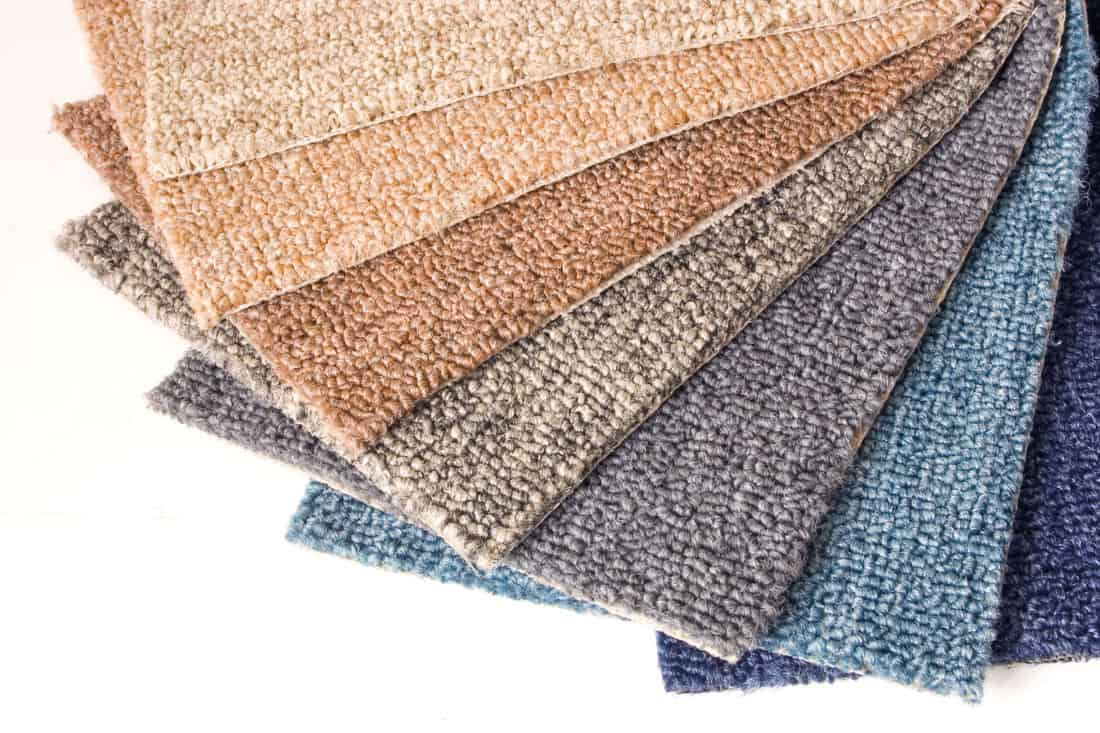 Carpet samples fanned out on a white tabletop