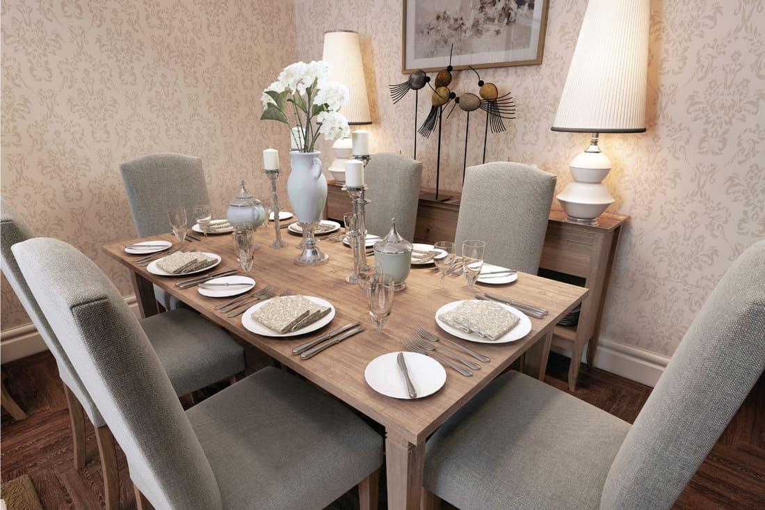 Classic dining room design with elegant farmhouse design pattern wallpaper