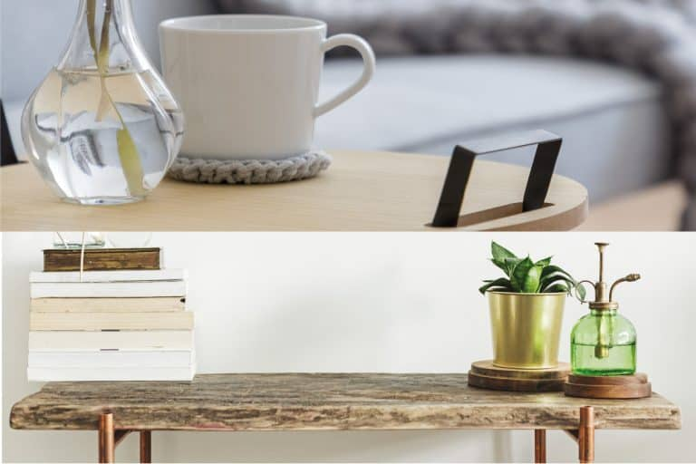 A collage of console and coffee table with vases on top, Should Console Table Match Coffee Table?