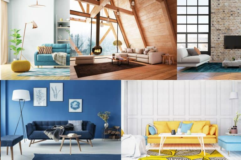 collage of images of living rooms with colored carpets, 15 Best Carpet Colors By Room