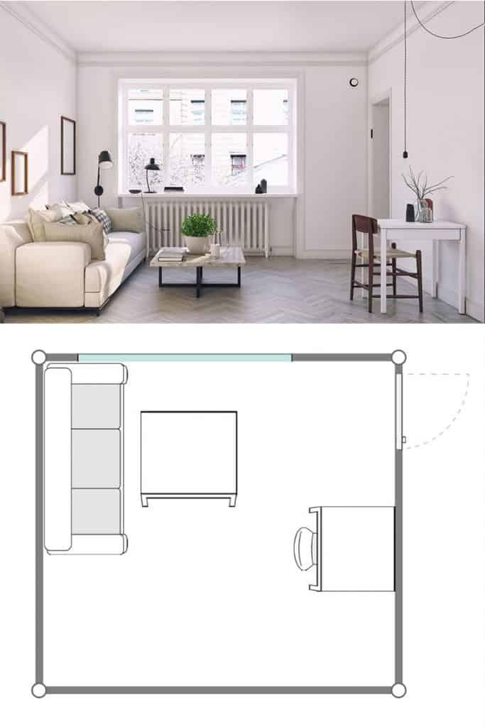 Compact Scandinavian style living room design