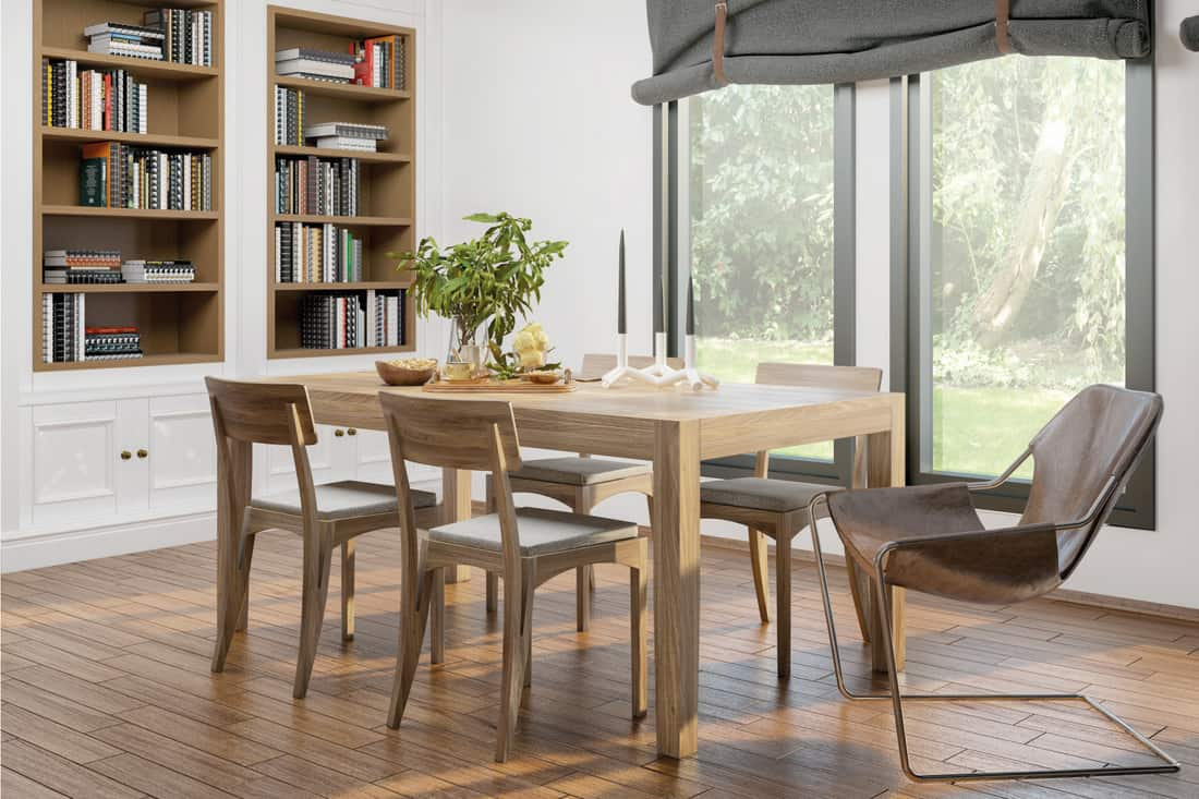 domestic dining room with wooden furniture and Modern Tie-Up Shades