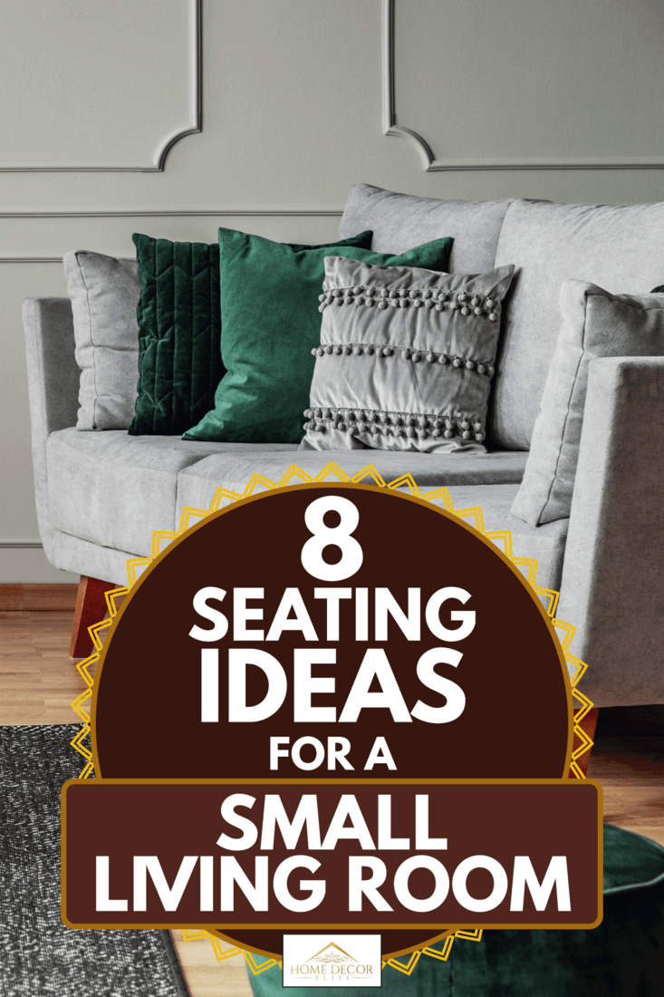 Elegant grey couch with emerald pillows and ottoman seat, 8 Seating Ideas For A Small Living Room