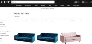 Gilt Home website couch product page